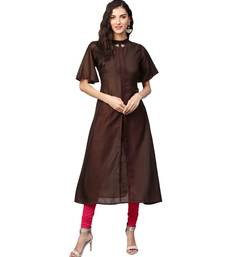 Brown Solid Muslin Silk Kurta