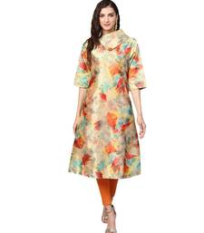 Multi Color Digital Print Satin Kurta