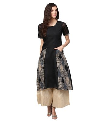 Black Solid Chanderi Cotton Kurta
