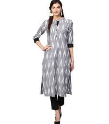Grey Cotton Ikkat Kurta