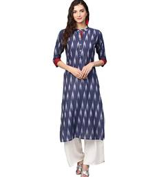 Navy Blue Cotton Ikkat Kurta
