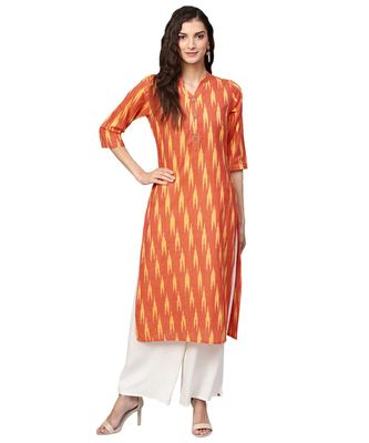 Orange Cotton Ikkat Kurta
