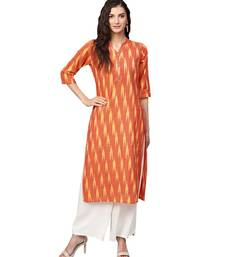 Orange Cotton Ikkat Kurta