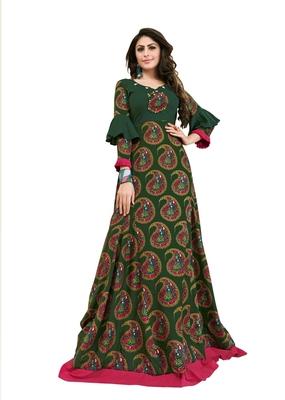 Dark-green embroidered rayon kurti