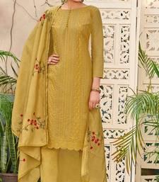 Mustard embroidered chanderi salwar with dupatta