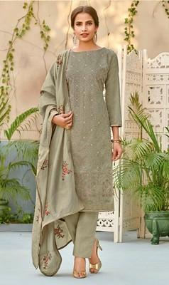 Silver embroidered chanderi salwar with dupatta