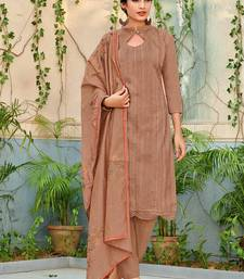 Brown embroidered chanderi salwar with dupatta