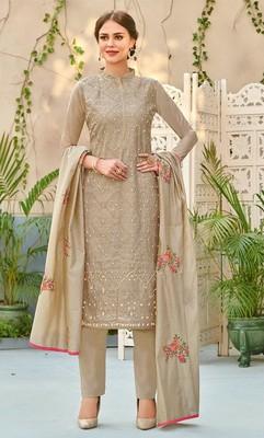 980879b12f Grey embroidered chanderi salwar with dupatta - Saini Vastra - 2903756