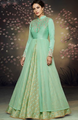 Sea-green embroidered net salwar with dupatta
