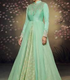 Sea-green embroidered net salwar with dupatta