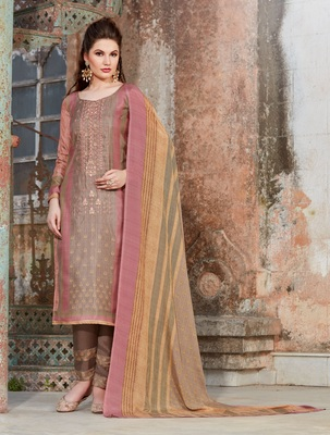 Pink embroidered tussar salwar with dupatta