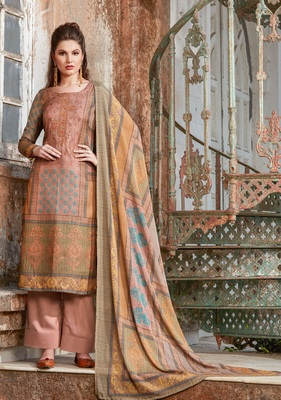 Peach embroidered tussar salwar with dupatta
