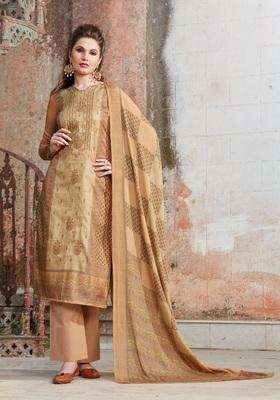 Beige embroidered tussar salwar with dupatta