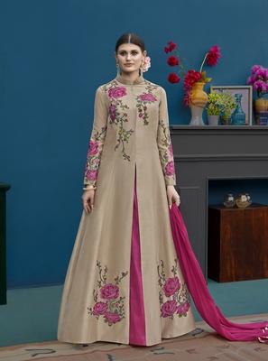 Beige embroidered silk salwar with dupatta