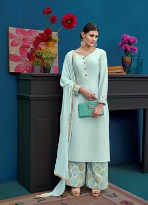 Light-sky-blue embroidered silk salwar with dupatta
