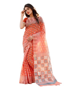 Orange printed satin saree with blouse