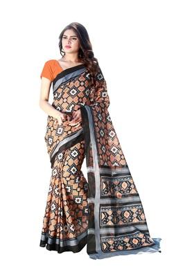 Orange printed satin saree with blouse