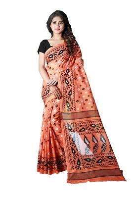 Light peach printed satin saree with blouse