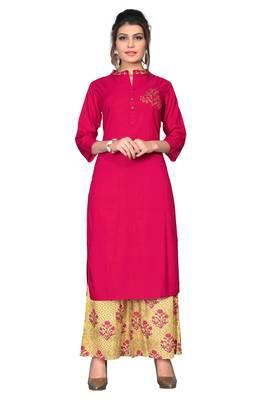 Pink embroidered rayon kurta sets