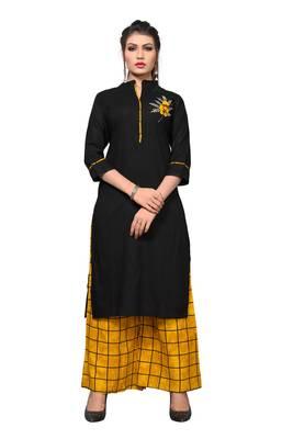 Black embroidered rayon kurta sets