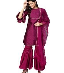 Pink Art Silk Self Design Kurta with sharara and dupatta