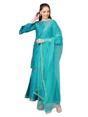 Blue Cotton Solid Kurta With Sharara And Dupatta