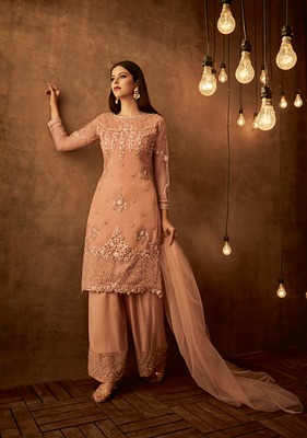 Apricot embroidered net salwar with dupatta