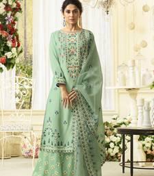 Light-Green Embroidered Silk Salwar With Dupatta