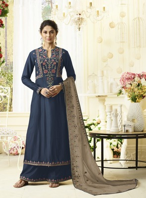Blue embroidered silk salwar with dupatta