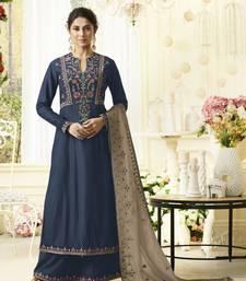 Blue embroidered silk salwar with dupatta