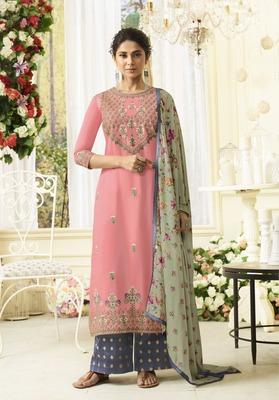 Pink embroidered silk salwar with dupatta