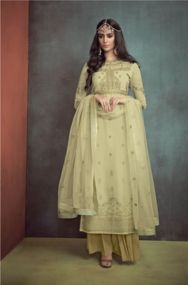 Light-parrot-green embroidered georgette salwar with dupatta