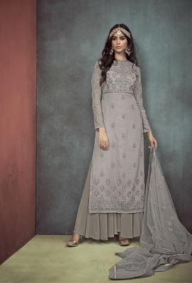 Grey embroidered georgette salwar with dupatta