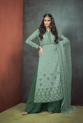 Green embroidered georgette salwar with dupatta