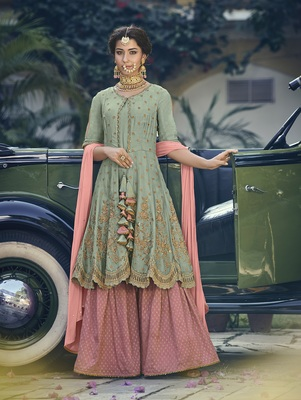 Light-green embroidered georgette salwar with dupatta