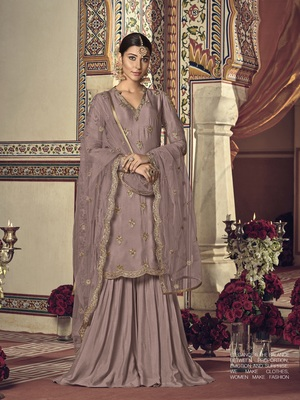 Light-plum embroidered georgette salwar with dupatta