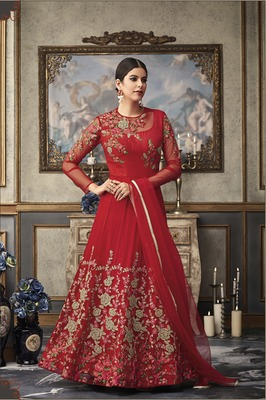 Red embroidered net salwar with dupatta