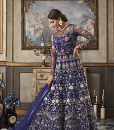 Blue embroidered net salwar with dupatta