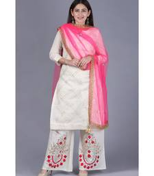 Ivory Treasure Gotta Kurti with Gotta Embroidered Palazzo and Pink Mirror Stone Net Dupatta