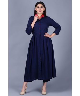 Navy Blue Ikkat Gathered Kurti with Straight Pants