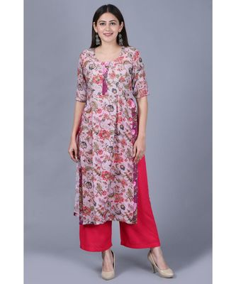 Lavender Burst Floral Kurti with Straight Pants