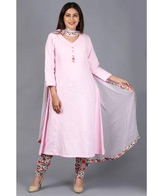 Blush Pink Kali Kurti with Printed Churidaar and Chiffon Dupatta with Floral Border