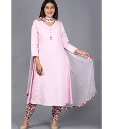 Blush Pink Kali Kurti with Printed Churidaar and Chiffon Dupatta with Floral Border