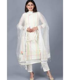 Off-White Freedom Double Layered Kurti with Straight Pants and Mirror Organza Dupatta