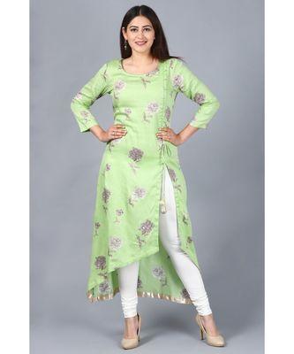 Pista Green Floral Asymmetrical Side Slit Kurti with Churidaar