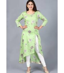 Pista Green Floral Asymmetrical Side Slit Kurti with Churidaar