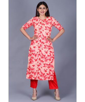 Red Leaf Printed Straight Kurti with Straight Pants