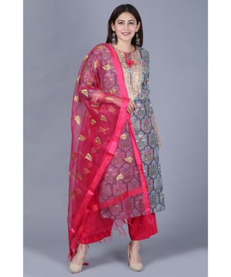 Slate Grey Mughal Printed Gotta Straight Kurti with Straight Palazzo and Pink Embroidered Dupatta