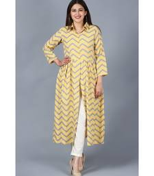 Mustard Grey Zig-Zag Gathered Kurti with Straight Pant