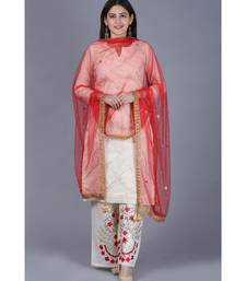 Ivory Treasure Gotta Kurti with Gotta Embroidered Palazzo and Red Mirror Stone Net Dupatta